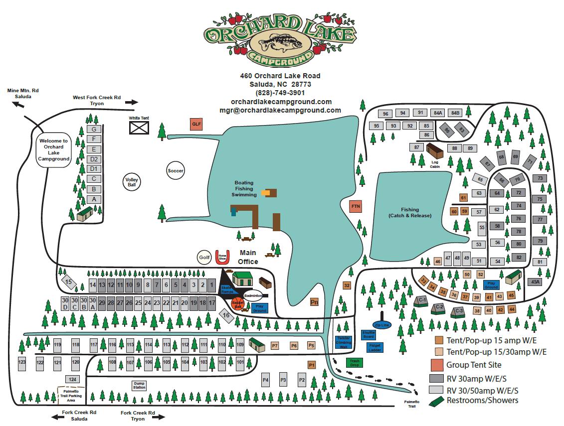Orchard Lake Campground Saluda North Carolina Map